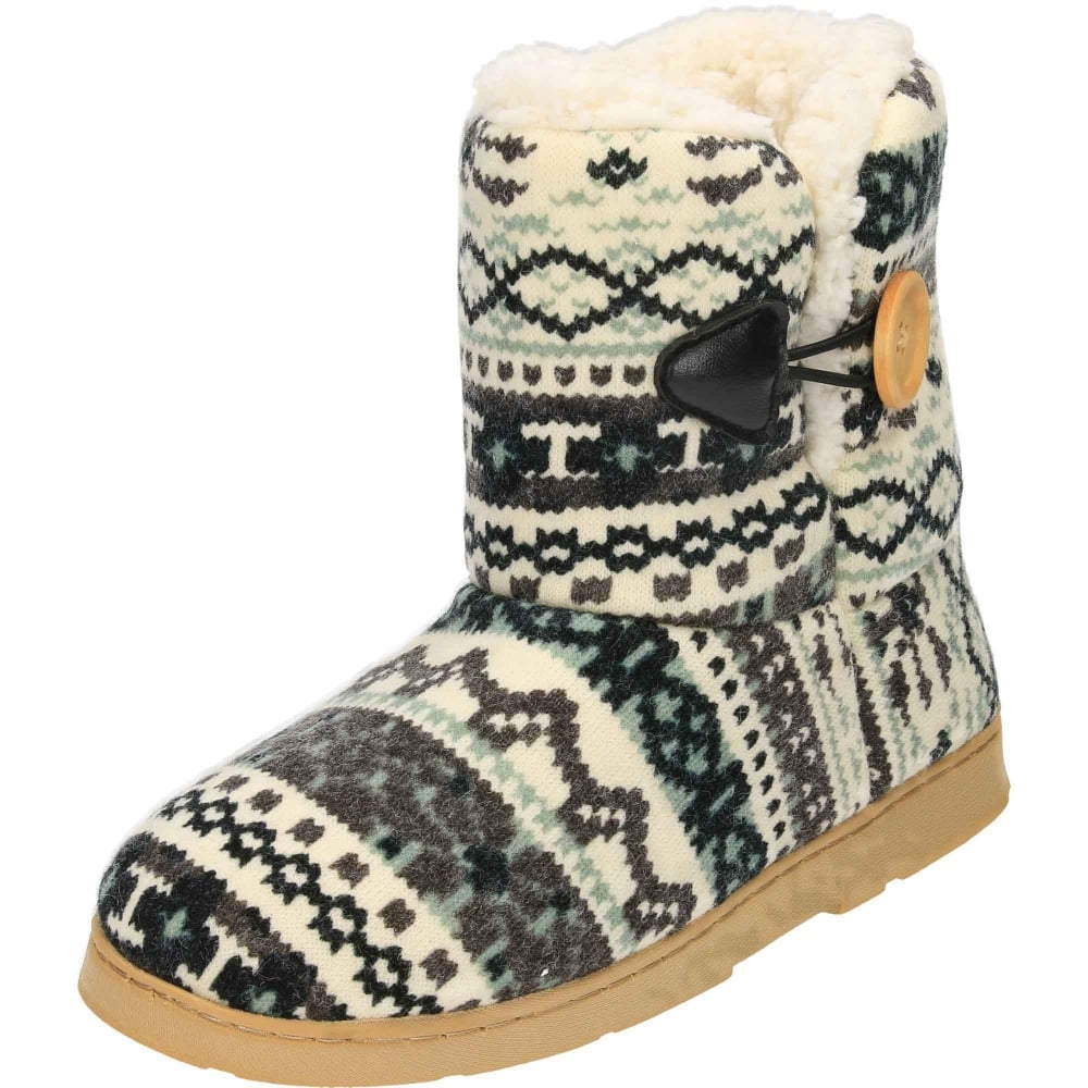 Dr Keller Warm Lined Knitted Slipper Boots Ladies Footwear From