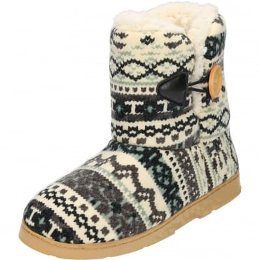 Warm Lined Knitted Slipper Boots