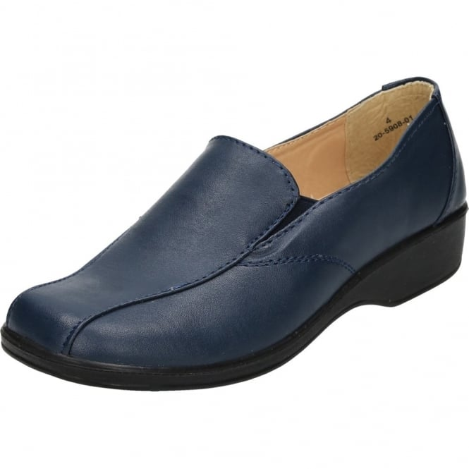 Dr Lightfoot Faux Leather Flat Lightweight Slip On Comfy Shoes