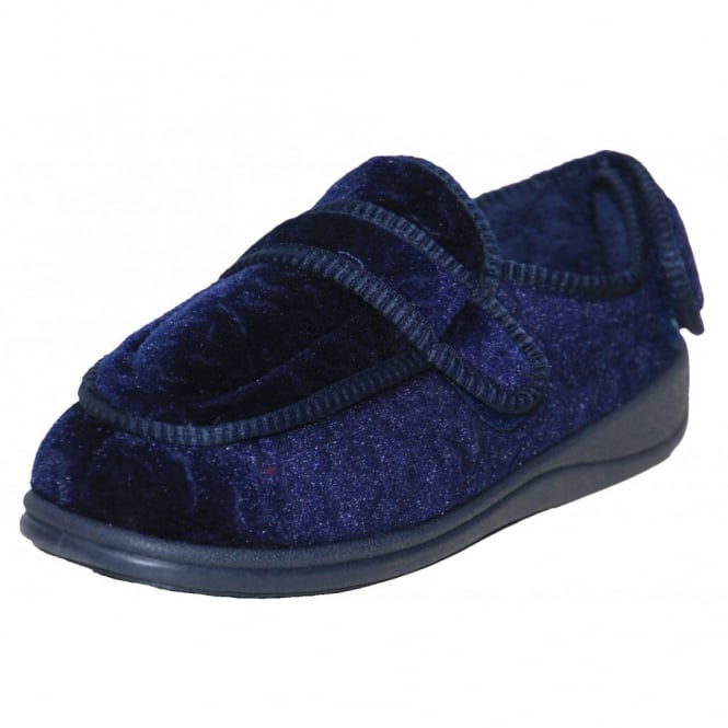 Dr Lightfoot Memory Foam Navy Blue Burgundy Washable Slippers
