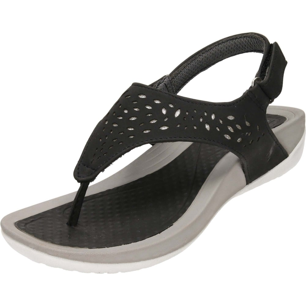 95e46328579 Dunlop Black Wedge Slingback Toe Post Cushioned Sandals - NEW WITH MINOR  DEFECT - Ladies Footwear from Jenny-Wren Footwear UK