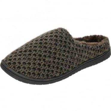Faux Fur Lined Knitted Slipper Mule Clog