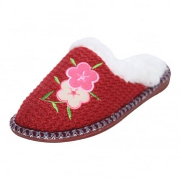 Ladies Faux Fur Knitted Slip On Warm Slipper Mules