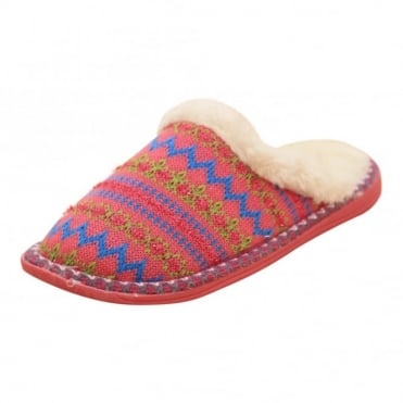 Ladies Faux Fur Lined Cosy Knitted Slip On Slipper Mules