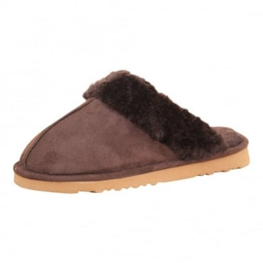 Ladies Faux Suede Fur Slip On Cosy Slipper Mules