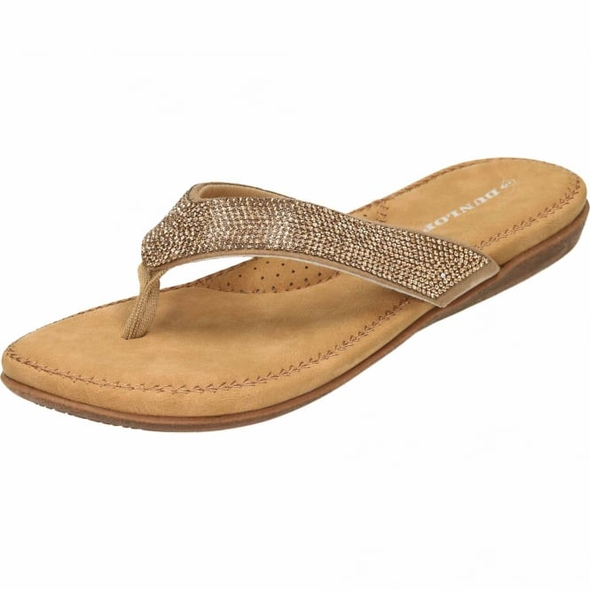 Dunlop Ladies Flip Flops Toe Post Sequin Slip On Flat Sandals