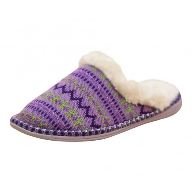 Dunlop Ladies Warm Lined Cosy Knitted Slip On Slipper Mules