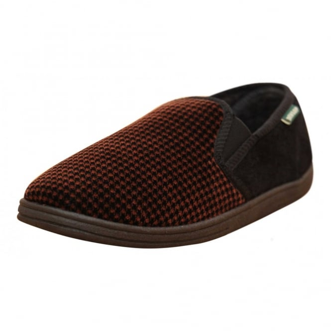 Dunlop Mens Check Cosy Slippers Shoes Twin Elastic Gussett