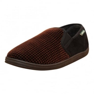 Mens Check Cosy Slippers Shoes Twin Elastic Gussett