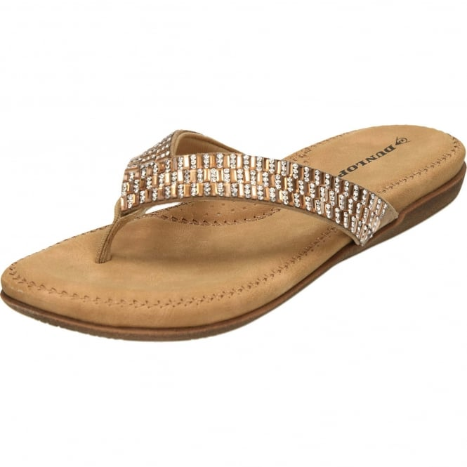 Dunlop Toe Post Flat Cushioned Flip Flops Sandals