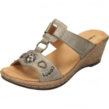 Wedge Heel Slip On Cushioned Mule Sandals