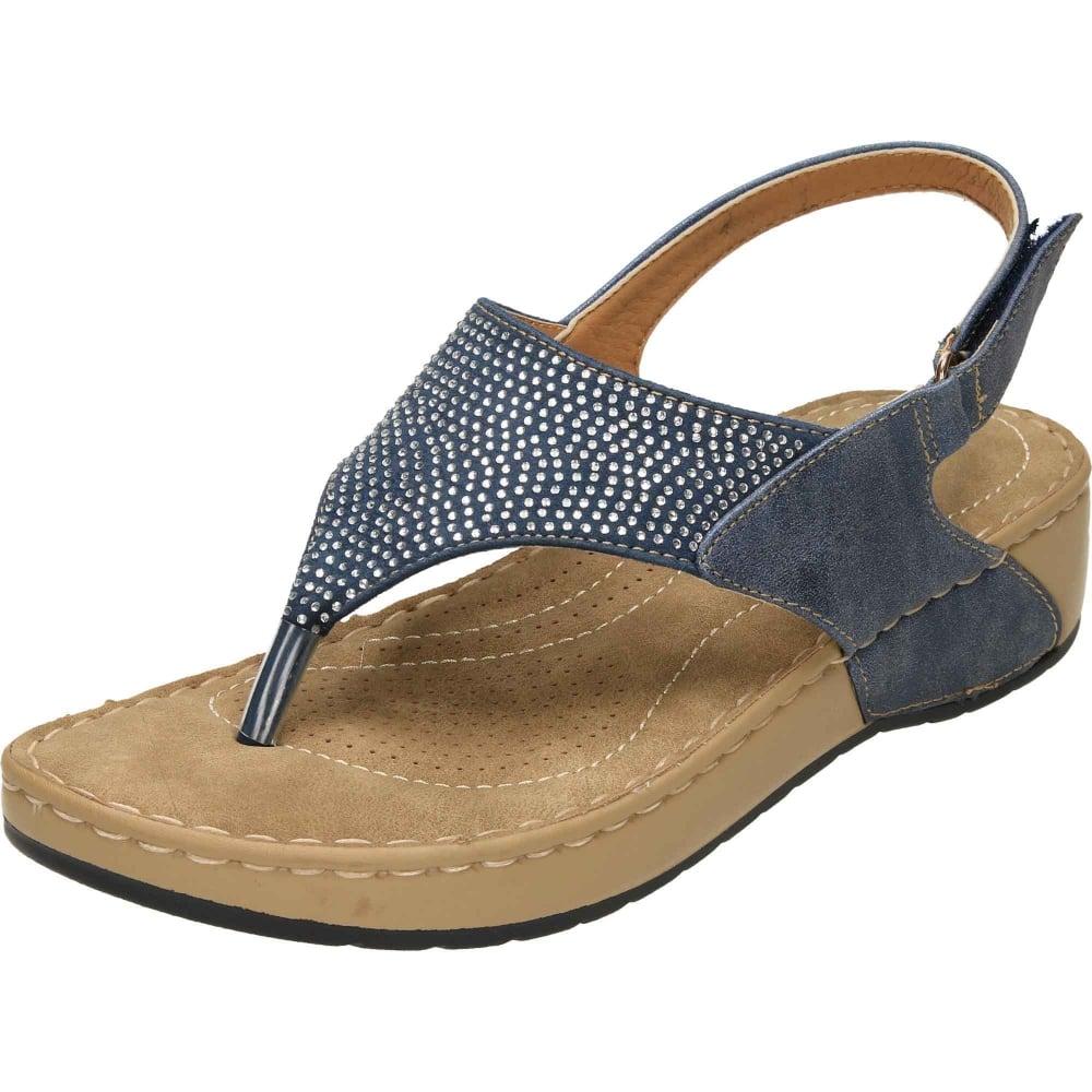 be0a043c186 Dunlop Wedge Slingback Toe Post Flat Cushioned Sandals - Ladies Footwear  from Jenny-Wren Footwear UK