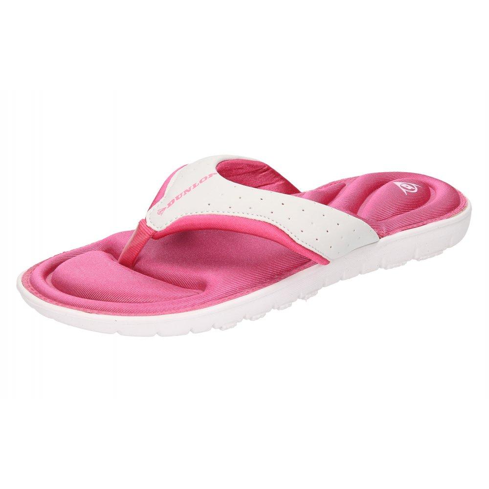 fc1c922e96fc Dunlop White Pink Toe Post Memory Foam Flip Flops Summer Sandals ...