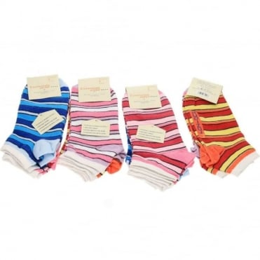 Ladies Cotton Anti-Bac Striped Ankle Socks