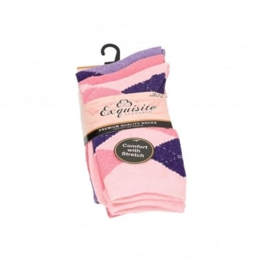 Ladies Multi-Pack Cotton Blend Argyle Diamond Comfort Trainer Socks
