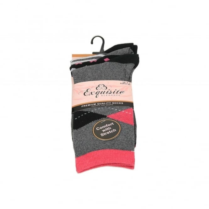 Exquisite Ladies Multi-Pack Cotton Blend Stripes & Hearts Comfort Trainer Socks