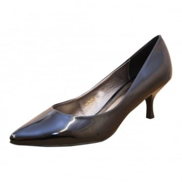 Ladies Patent Mid Stiletto Heel Court Point Shoes
