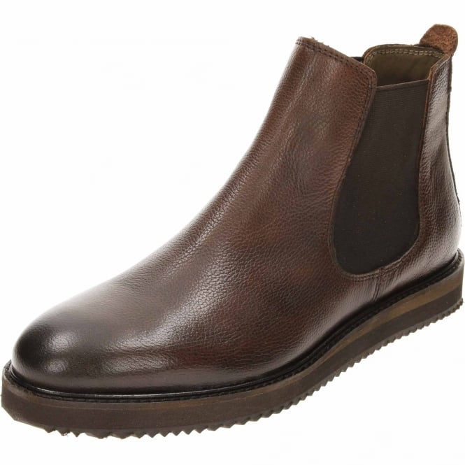 Frank Wright Edwin Milled Leather Chelsea Pull On Ankle Boots