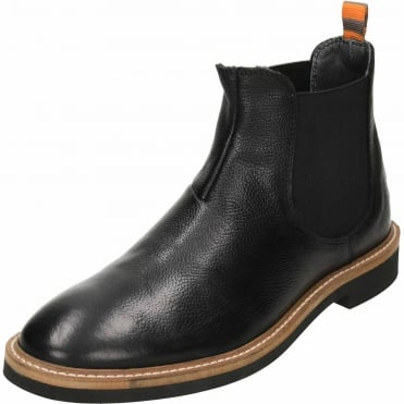 Hazelburn Black Leather Chelsea Pull On Ankle Boots