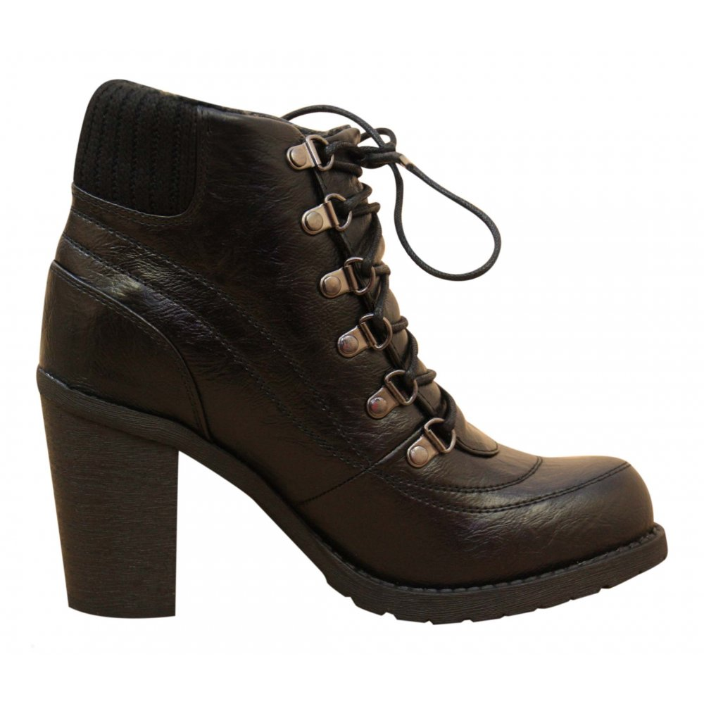 george black high heel lace up ankle boots knitted fur