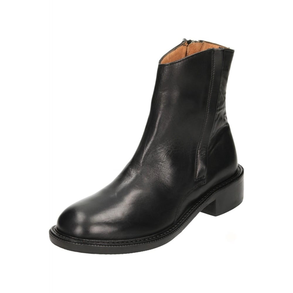 hudson black leather flat chelsea ankle zip boots