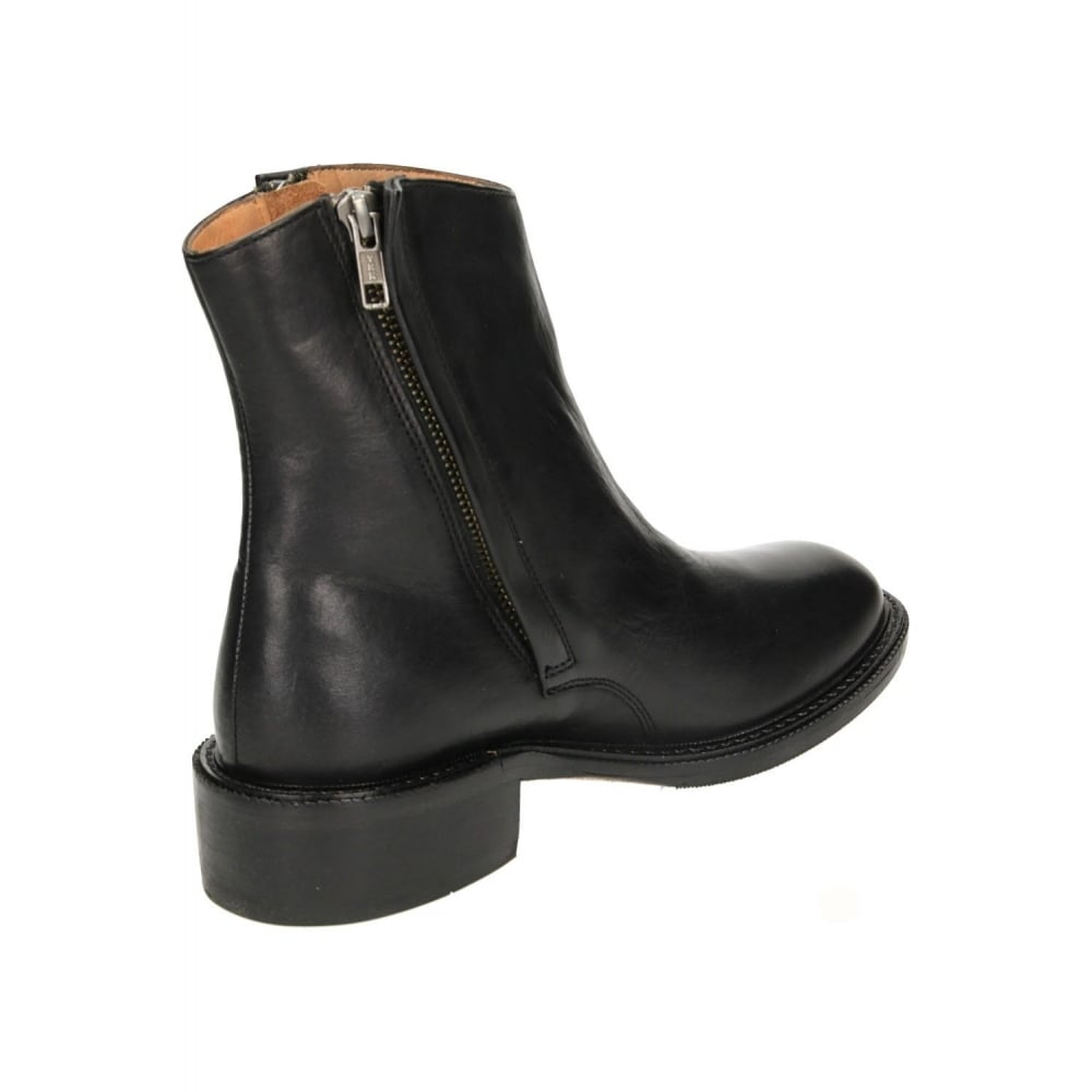 hudson black leather flat chelsea ankle zip boots hudson