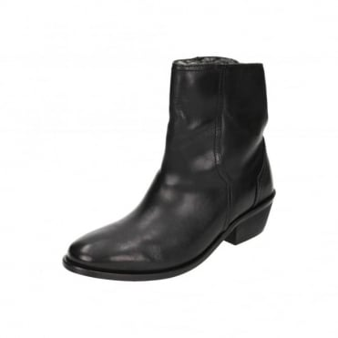 Black Leather Mid Heel Fur Lined Cowboy Trouser Ankle Boots