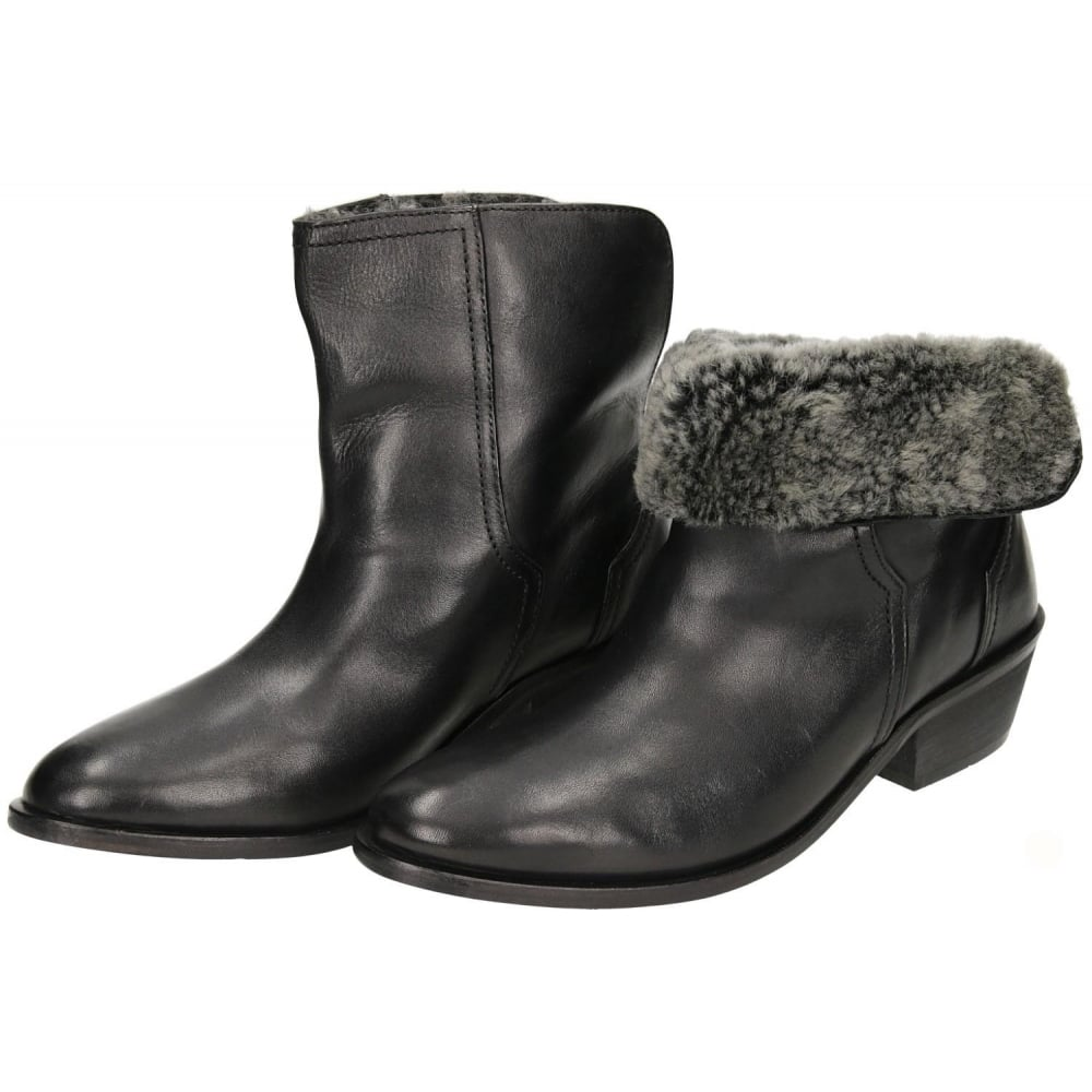 Hudson Black Leather Mid Heel Fur Lined Cowboy Trouser Ankle Boots ...