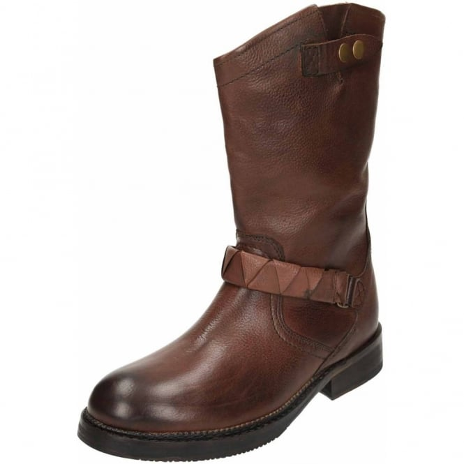 Hudson Brown Mid Calf Flat Leather Biker Boots