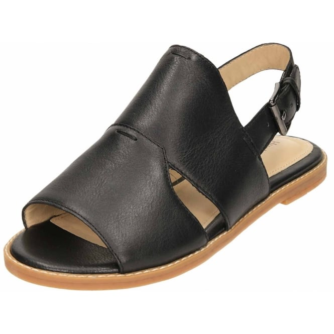 Hush Puppies Black Leather Flat Slingback Open Toe Sandals Adiron Chrissie