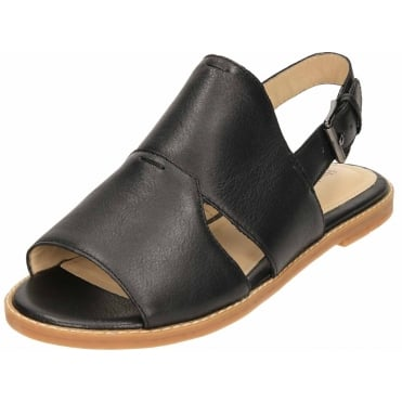 Black Leather Flat Slingback Open Toe Sandals Adiron Chrissie