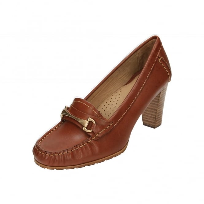 Hush Puppies Castana Leather Block High Heel Moccasin Shoes
