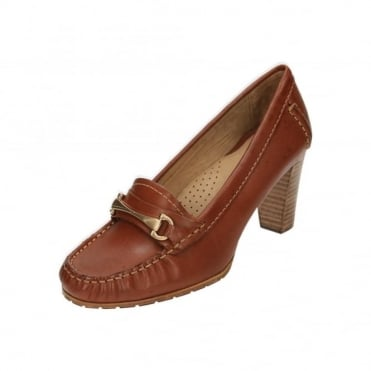 Castana Leather Block High Heel Moccasin Shoes