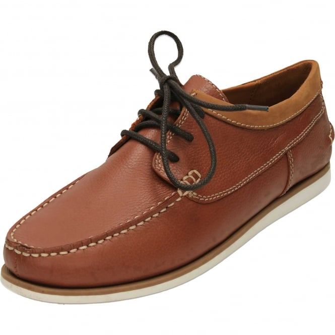 Hush Puppies Davo Portland Moccasin Leather Lace Up Casual Tan Shoes
