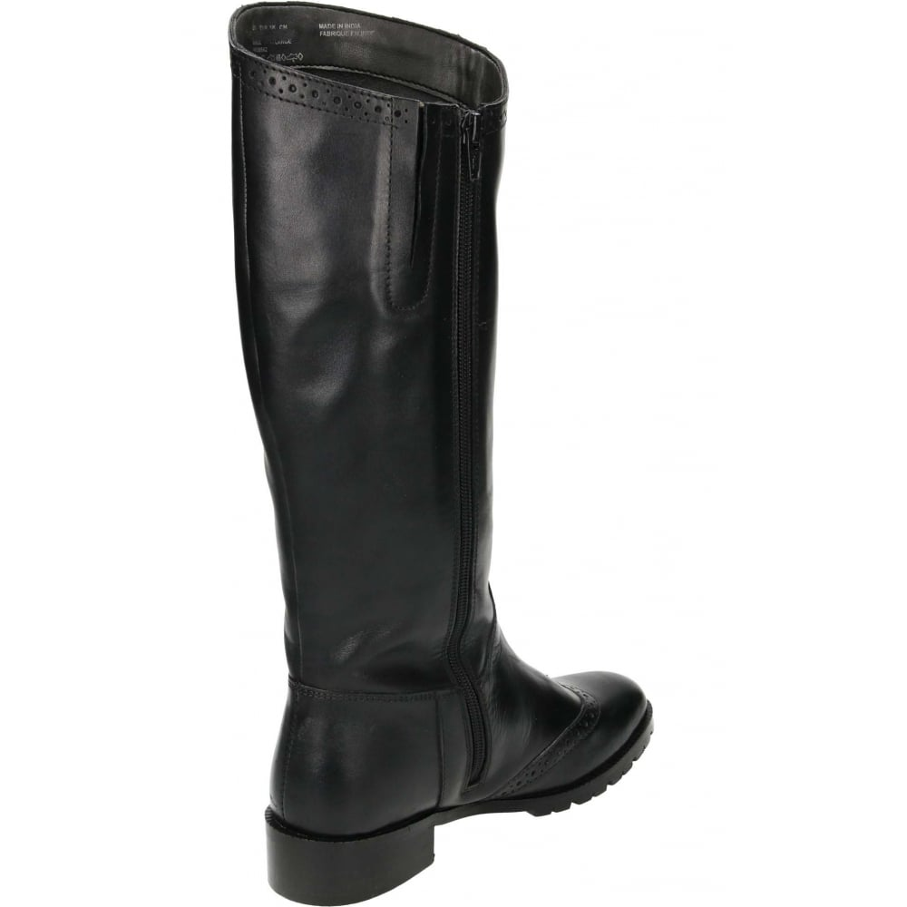 Hush Puppies Emilia Real Leather Knee High Flat Boots - Ladies ...