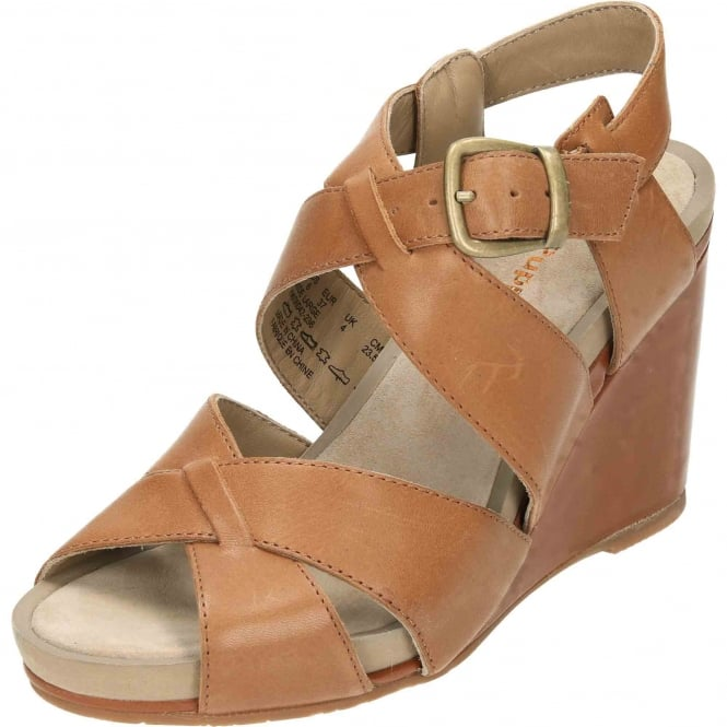 Hush Puppies Fintan Montie Suede Leather Wedge Heel Platform Sandals