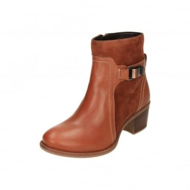 Fondly Nellie Leather Suede Heel Ankle Strap Boots