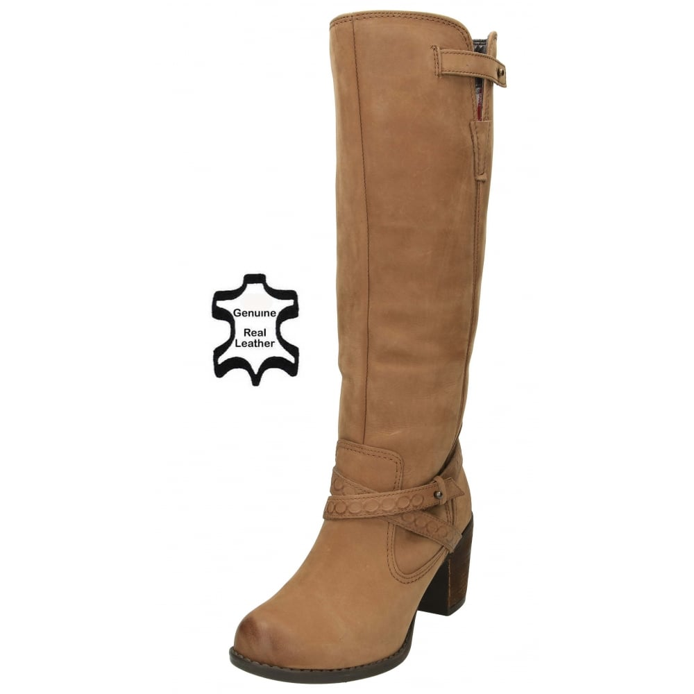 3c5498e1f93 Hush Puppies Gussie Moorland Leather Boots Knee High Heel