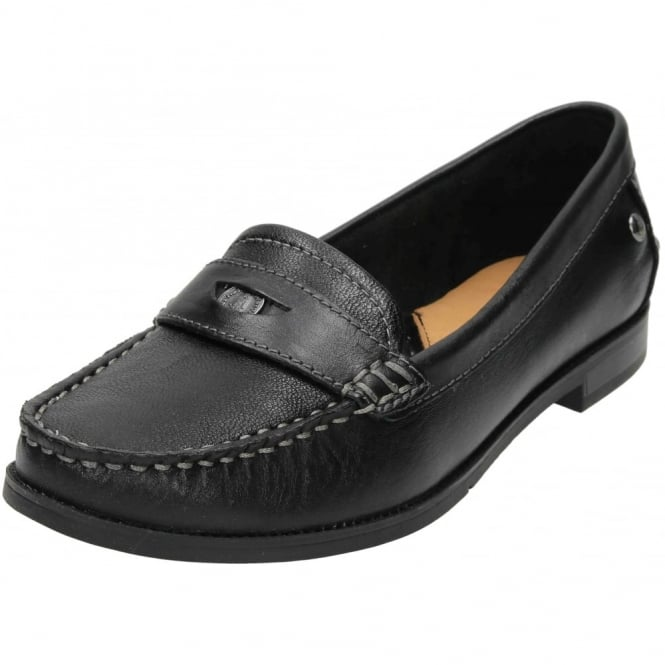 Hush Puppies Iris Sloan Leather Flat Slip On Loafer Shoes