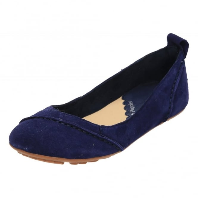 Hush Puppies Janessa Suede Leather Flat Slip On Ballet Shoes Blue