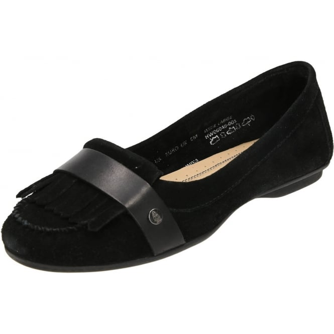 Hush Puppies Messitt Robyn Black Suede Leather Flat Slip On Loafer Shoes