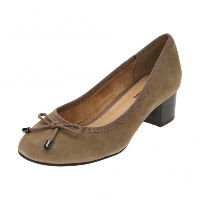 Hush Puppies Nikita Discover Suede Leather Block Heel Court Shoes