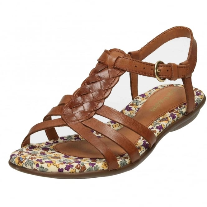 Hush Puppies Nishi T Strap Real Leather Strappy Flat Sandals