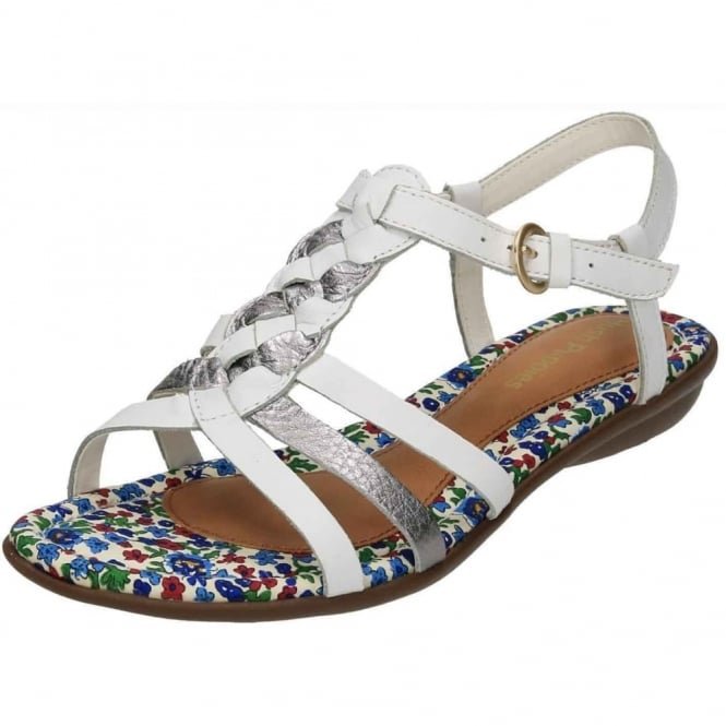 Hush Puppies Nishi T Strap Real Leather White Strappy Flat Sandals