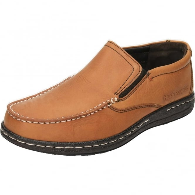Hush Puppies Real Leather Slip On Loafers Dual Fit Shoes