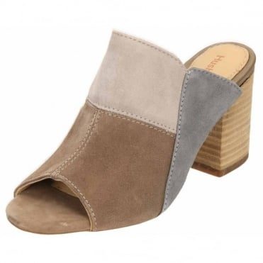 Sayer Malia Suede Leather Block Heel Peep Toe Mule Sandals