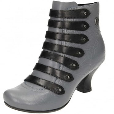 Tiffin Verona Leather Mid Flared Heel Victorian Ankle Boots