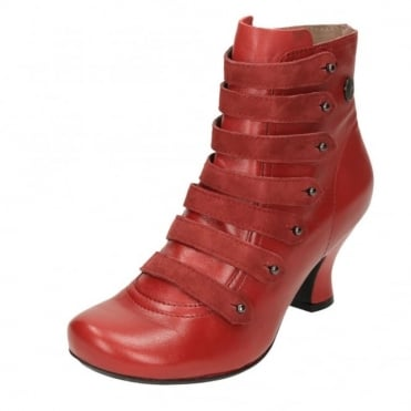 Tiffin Verona Real Leather Stacked Heel Victorian Ankle Boots