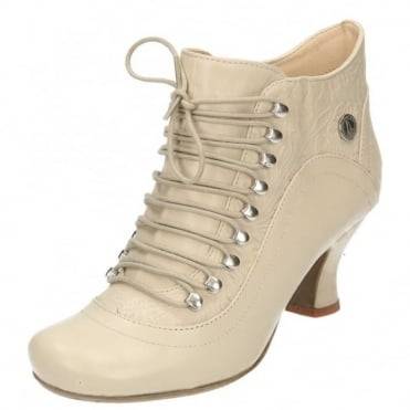 Vivianna Leather Lace Up Detail Mid Flared Heel Victorian Ankle Boots