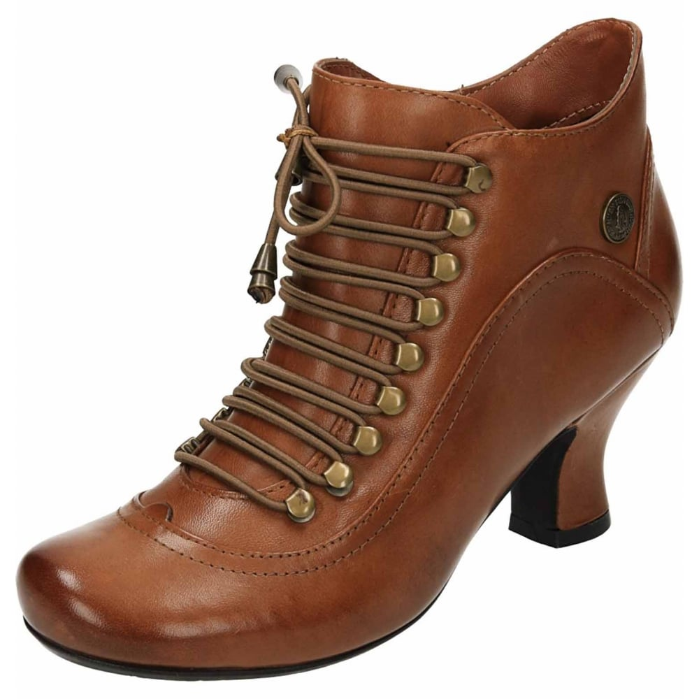 good selling attractive price better Hush Puppies Vivianna Tan Leather Lace Up Detail Flared Heel Victorian  Ankle Boots